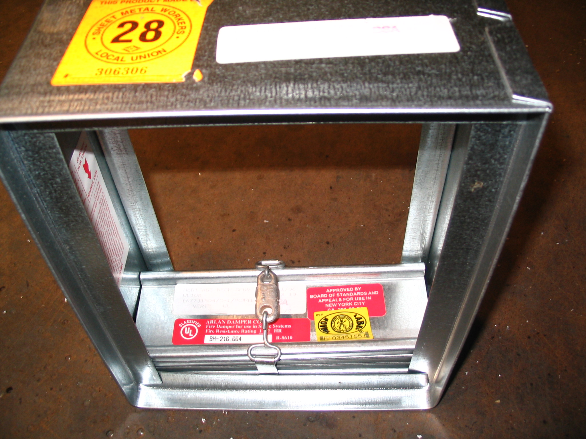 Model ul10al 3 hour rated fire damper for 1 hour fire door specification